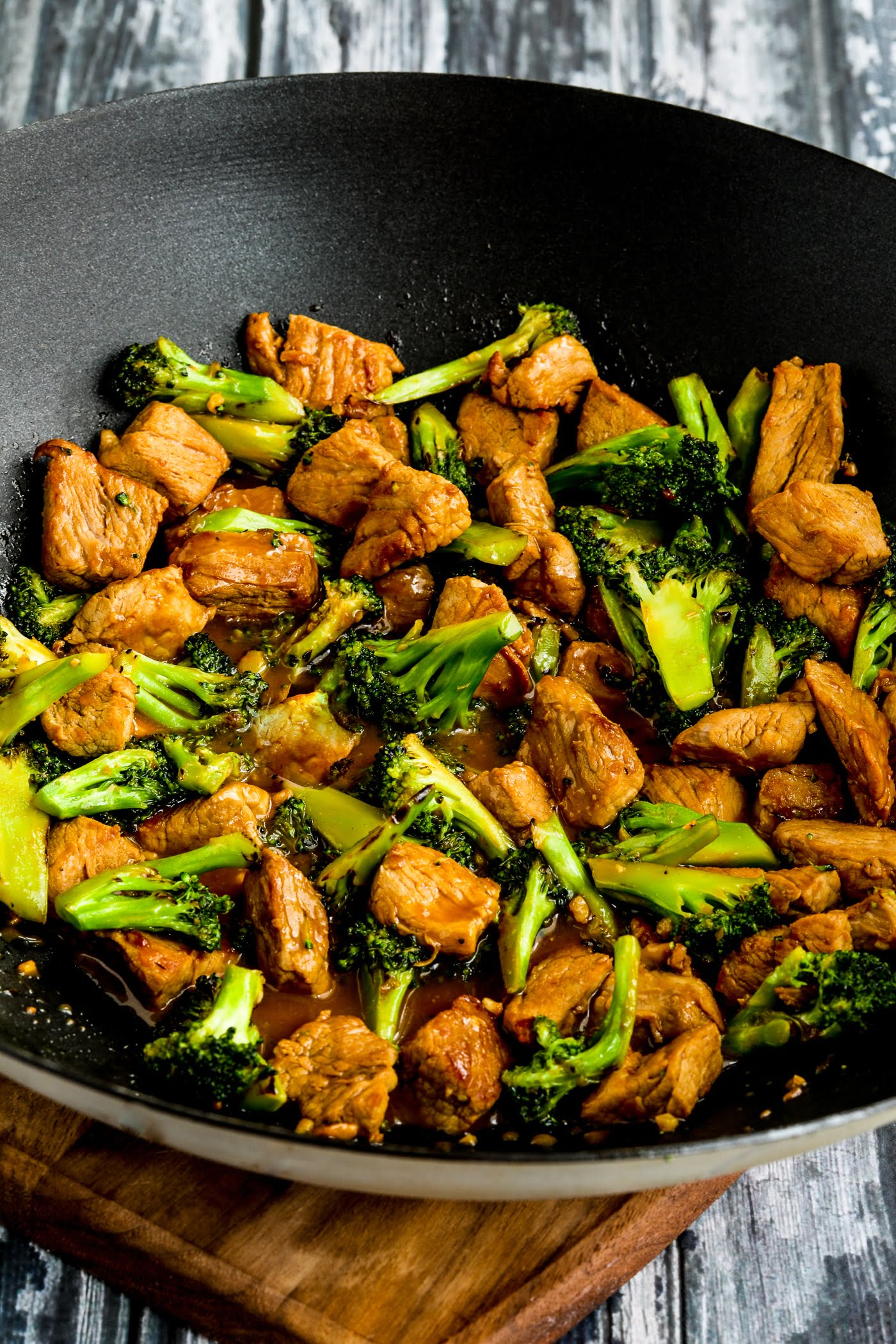 Pork and Broccoli Stir Fry with Ginger finished dish in wok
