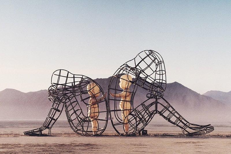 "Burning Man Sculpture ""Love"" - Inner Child Trapped in Us, by Alexandr Milov (Sunset)"