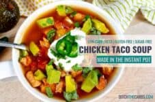 Instant pot chicken taco soup with colourful vegetables