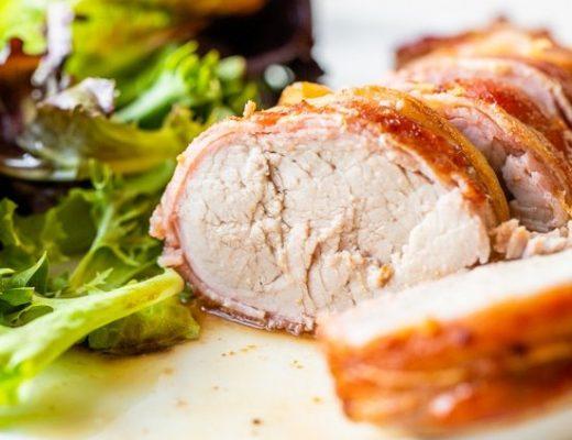 Air Fryer Bacon Wrapped Pork Tenderloin