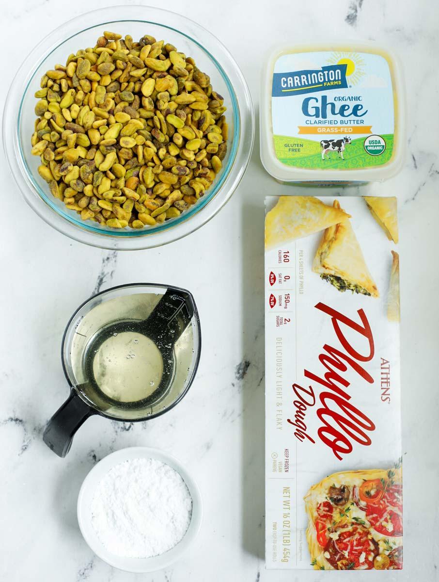 Ingredients needed to make pistachio baklava.