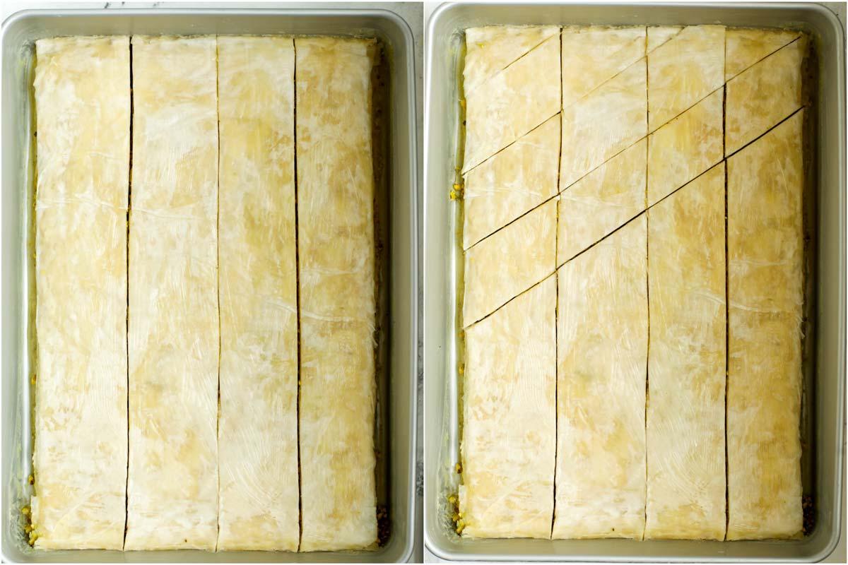 How to cut pistachio baklava in a pan.