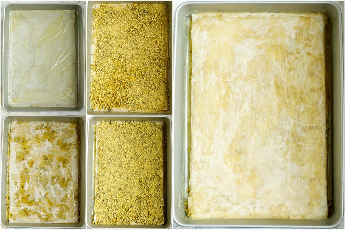 How to layer pistachio baklava.