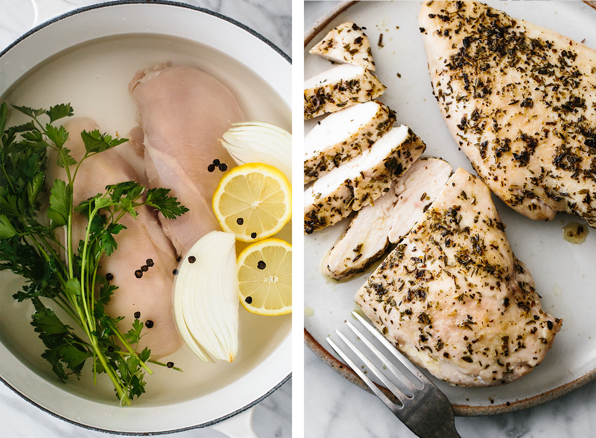 Chicken breast recipes including poached and baked chicken.