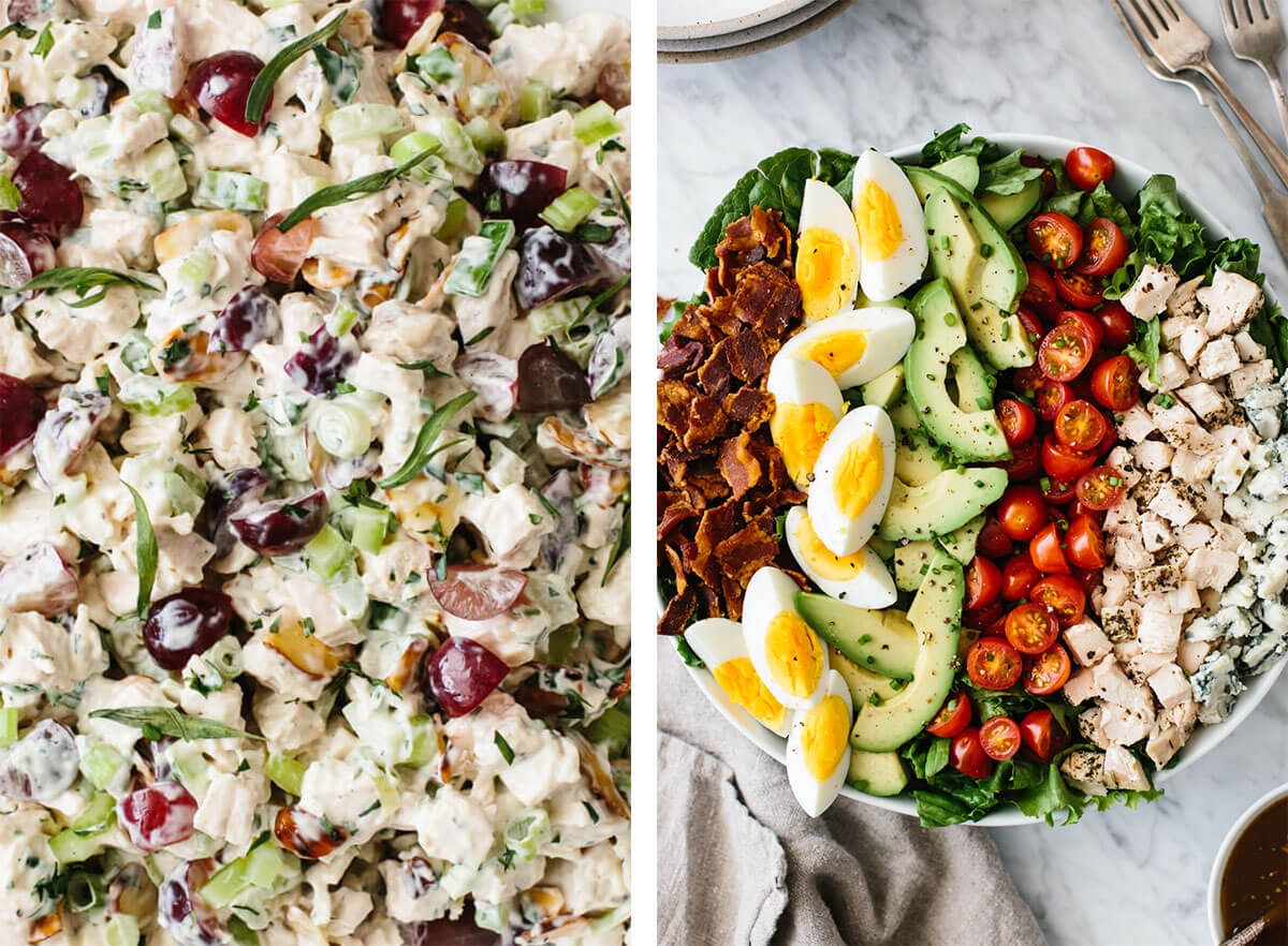 Chicken breast recipes with chicken salad and cobb salad.