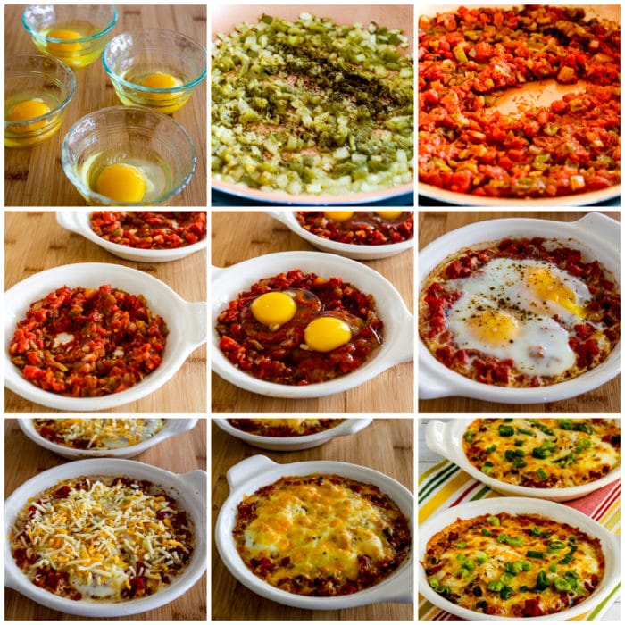 Mexican Baked Eggs collage photo showing steps for making the recipe