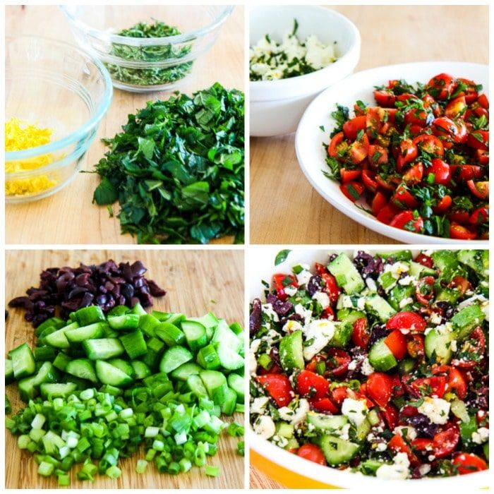 Tomato and Cucumber Salad with Mint and Feta process shots collage