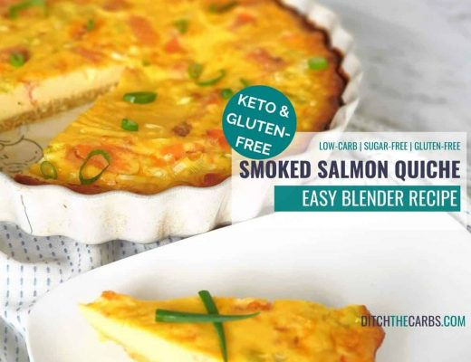 sliced keto smoked salmon quiche with a white plate
