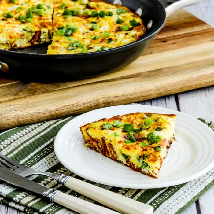 thumbnail image of Bacon Frittata with Two Cheeses with one slice on serving plate