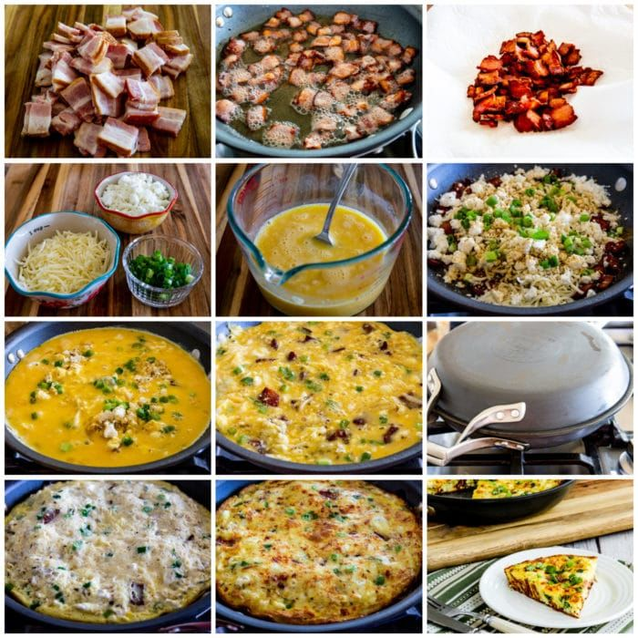 Bacon Frittata with Two Cheeses process shots collage