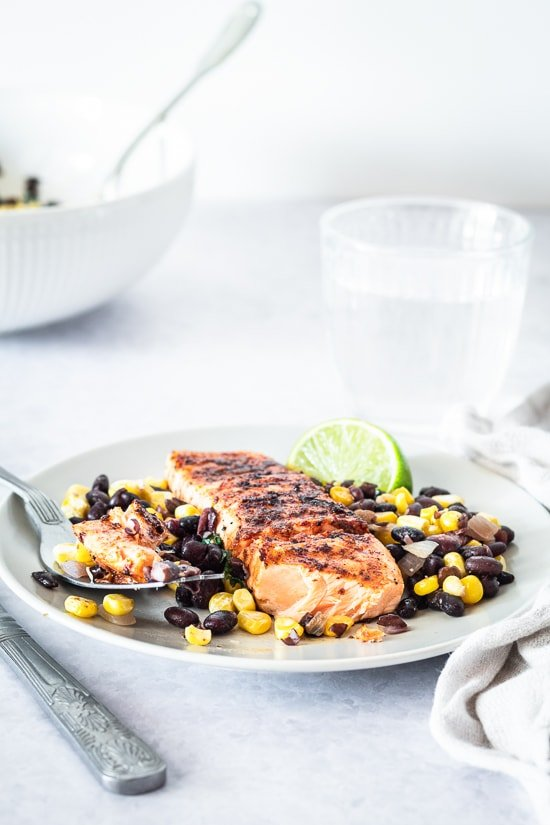 Smoky Spice Rubbed Grilled Salmon with Black Bean Corn Salsa