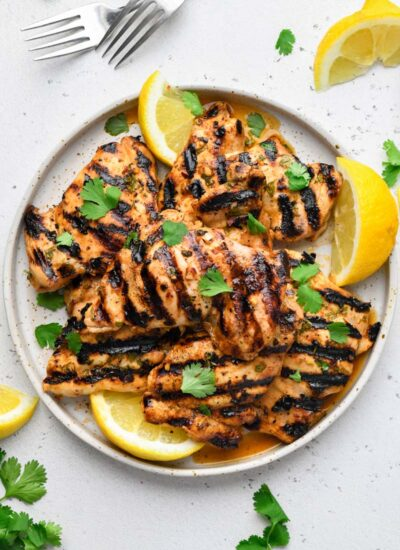 top down shot of the grilled cilantro lime chicken