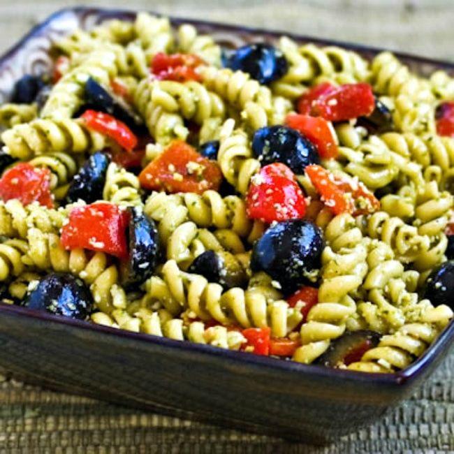 Pesto Pasta Salad finished salad in serving bowl