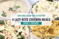 Lazy keto chicken meals served in four different bowls