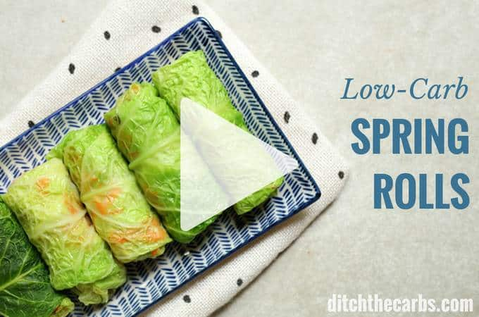 Low-carb spring rolls served for a crowd