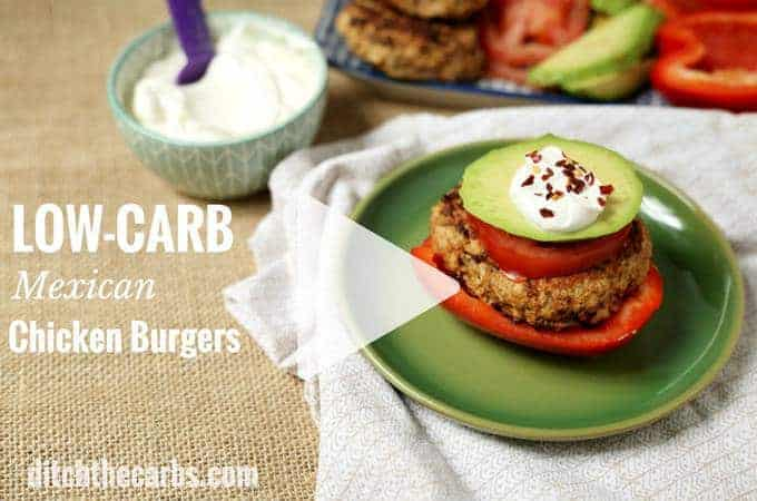 Mexican chicken burgers served with avocado and sour cream