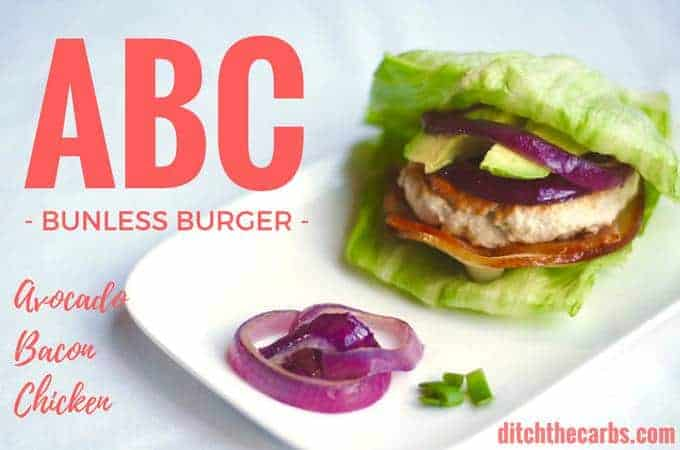 ABC bunless burger served with lettuce and onion rings