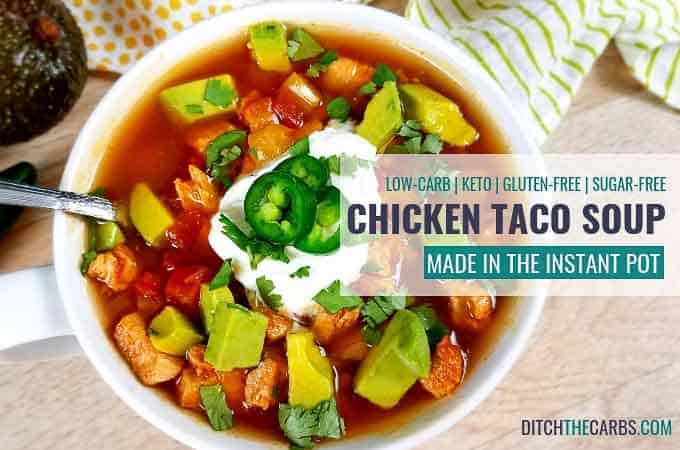 Instant Pot Chicken Taco Soup with sour cream in a bowl