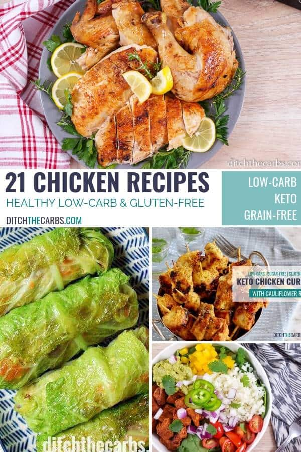 collage of 21 healthy low-carb chicken recipes