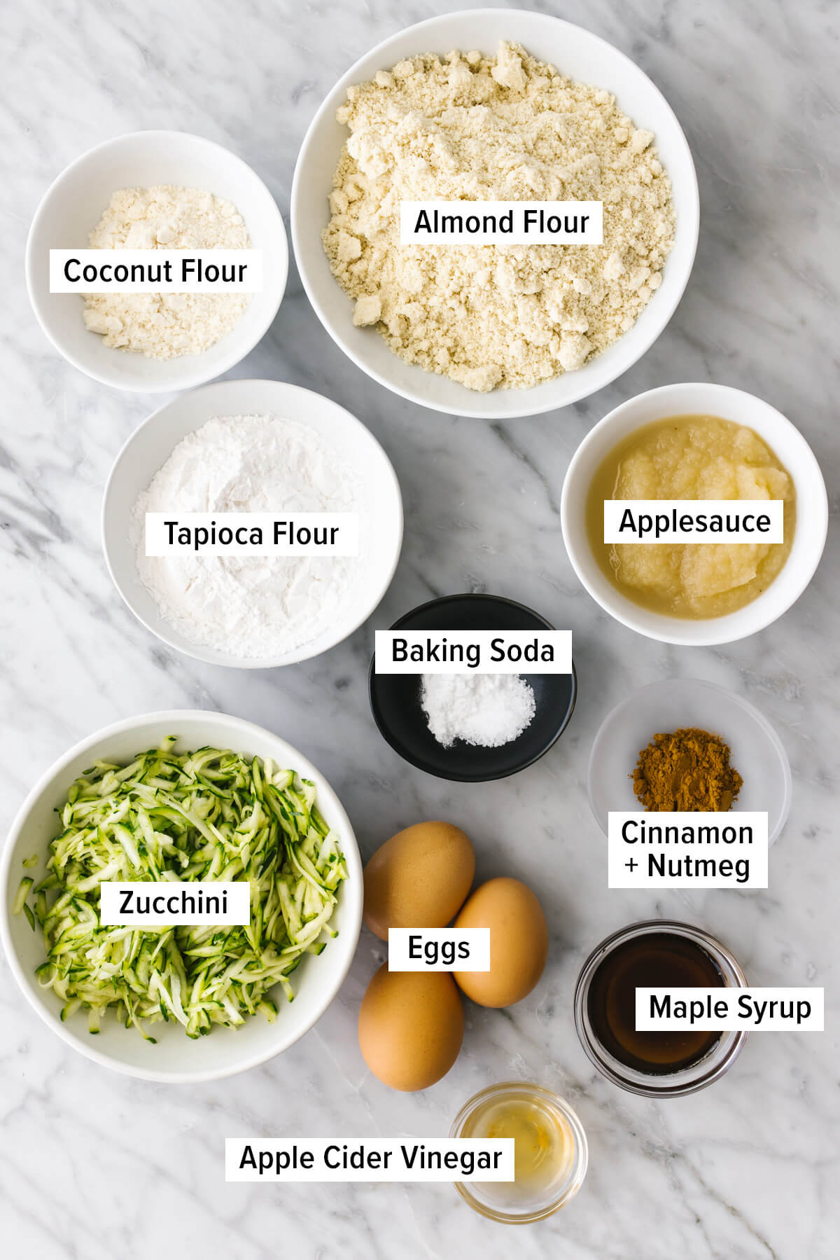 Ingredients for healthy zucchini muffins