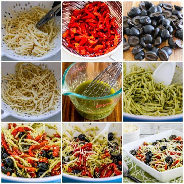 Pesto Pasta Salad process shots collage