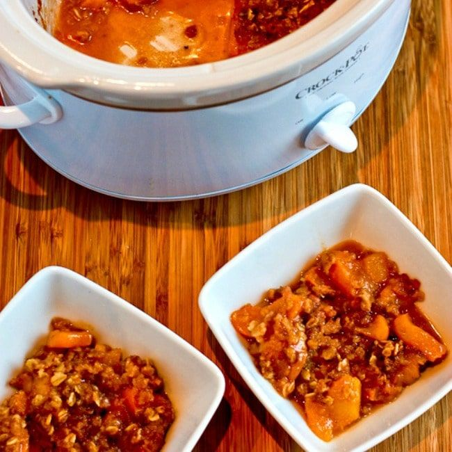 square thumbnail of Slow Cooker Peach Crisp finished peach crisp in slow cooker and in two bowls