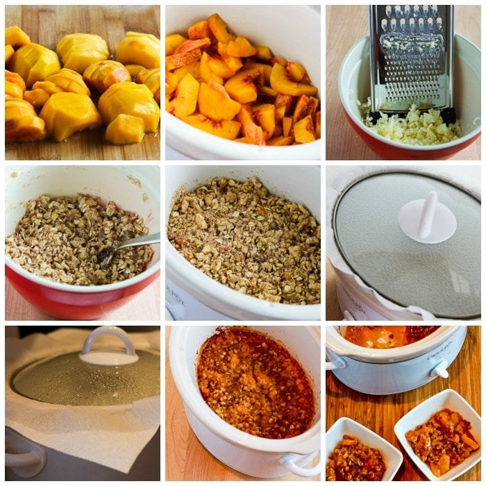 Slow Cooker Peach Crisp process shots collage