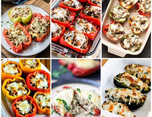 Low-Carb and Keto Stuffed Peppers Recipes collage of featured recipes