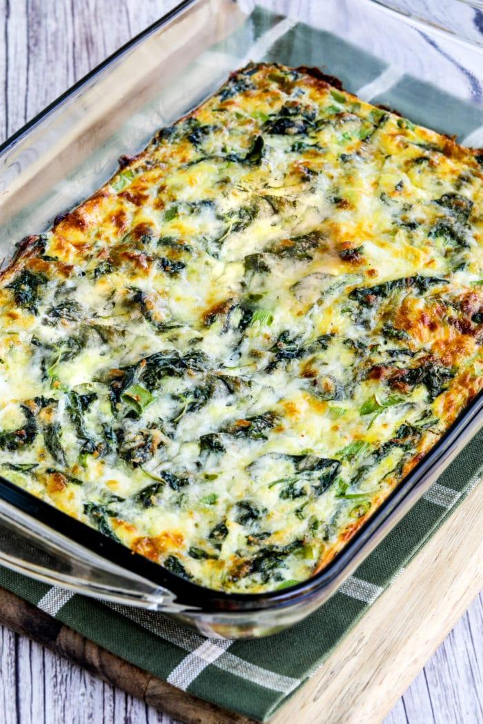Close-up photo of Kale, Mozzarella, and Egg Bake in casserole dish