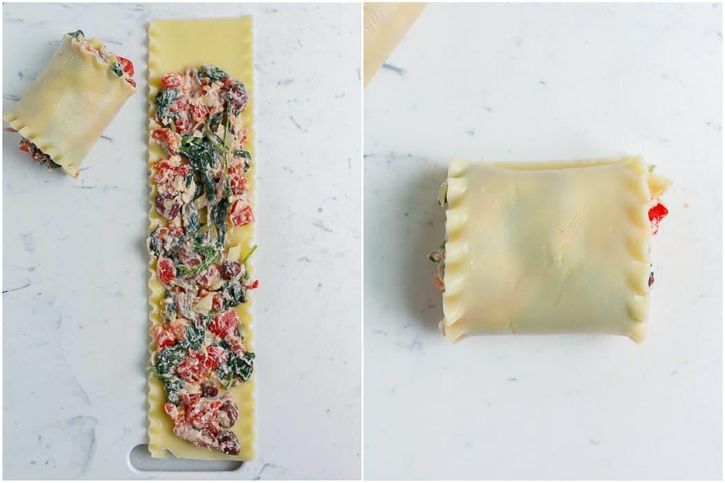 rolling of making of Greek White Alfredo Lasagna