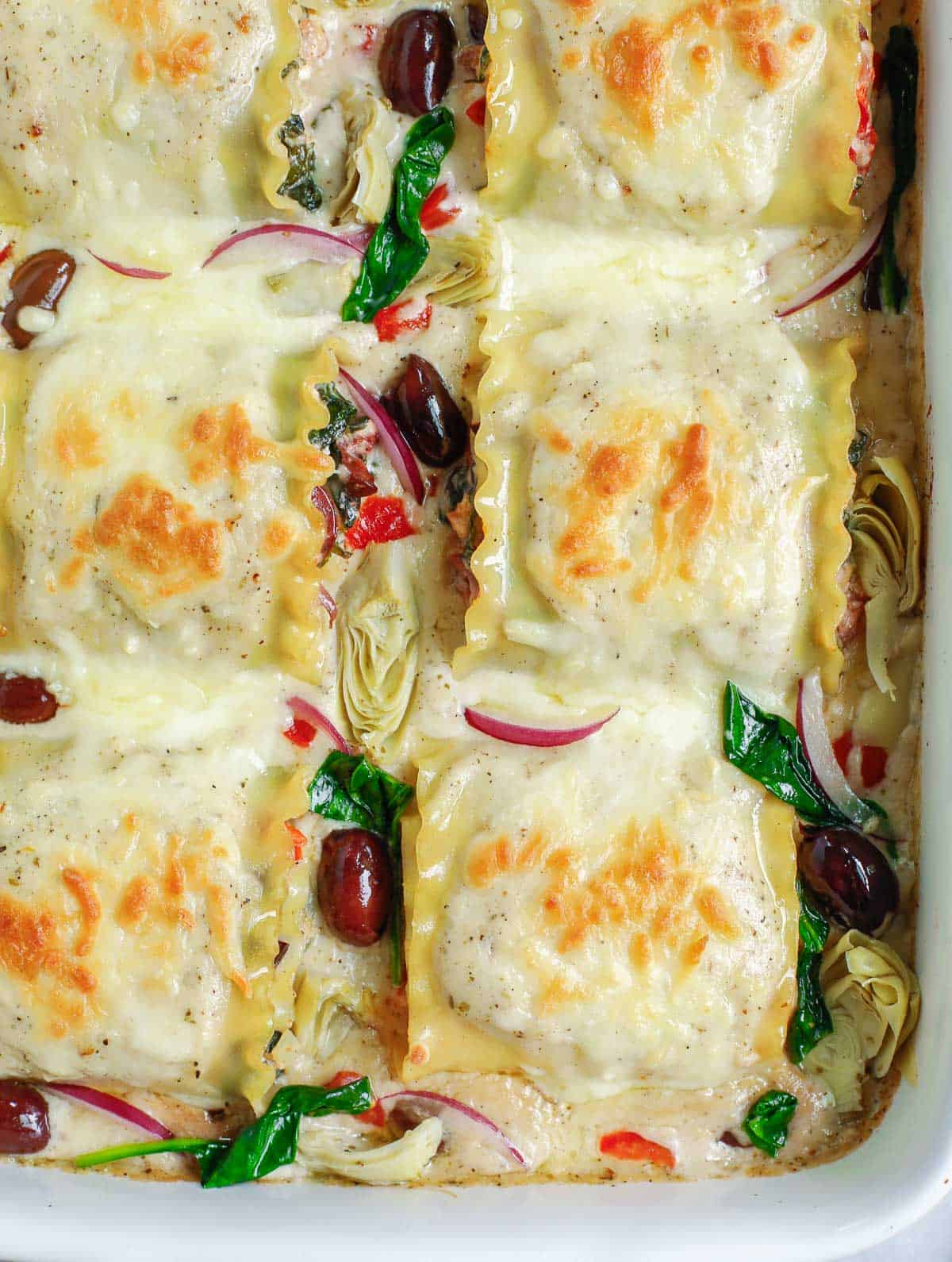 final result of Greek White Alfredo Lasagna Recipe