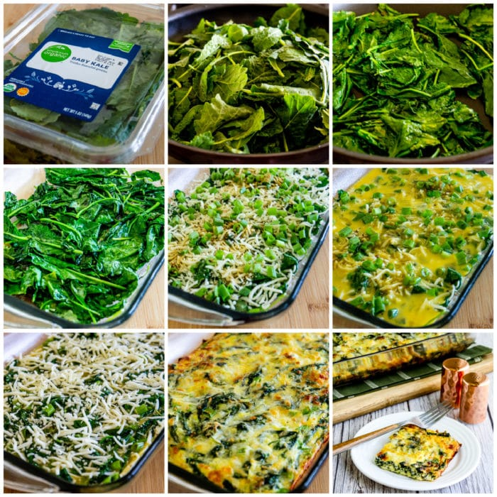 Kale, Mozzarella, and Egg Bake process shots collage